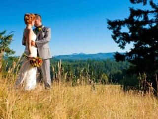 Wedding couple on ridge