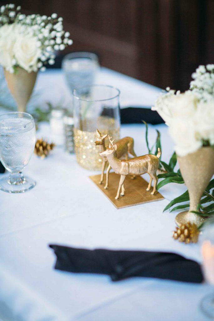 Wedding table setting with deer