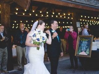 Wedding couple under evening lights