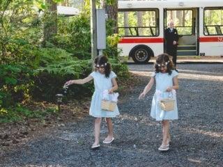 Wedding flower girls and tram