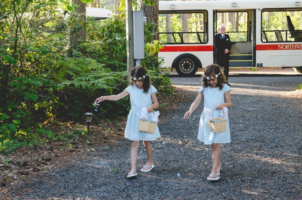 Wedding flower girls and tram