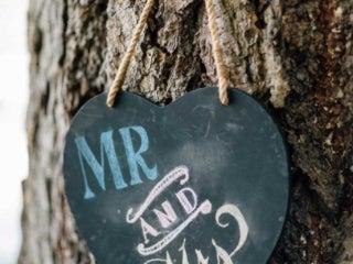 Wedding sign on tree