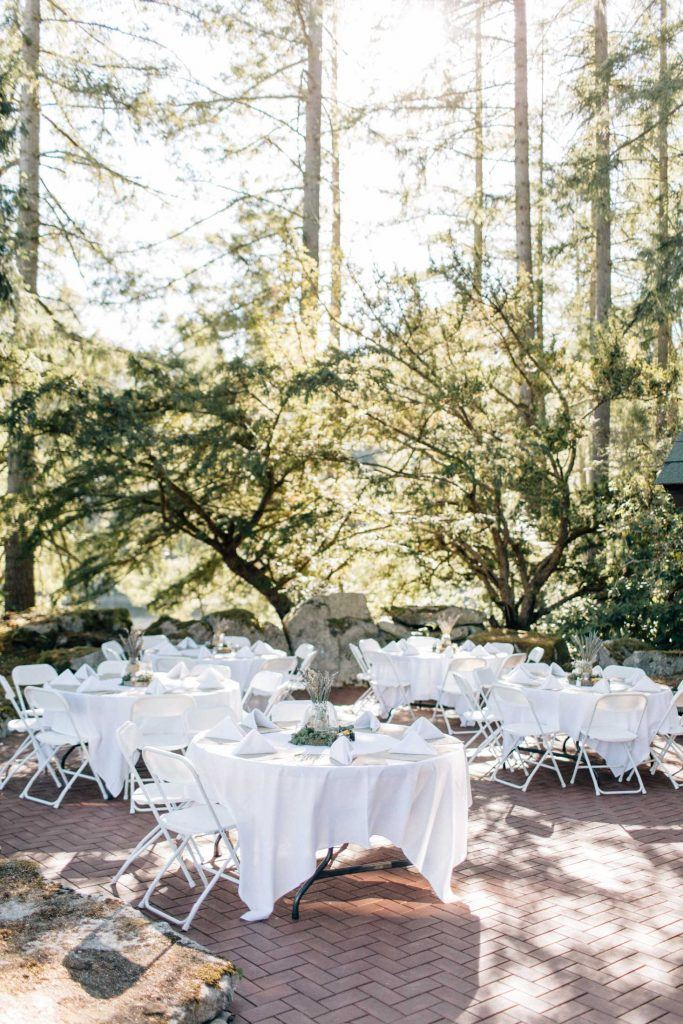 Wedding tables on patio