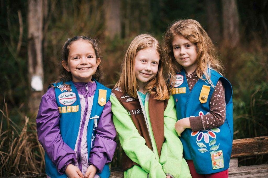 Girl scouts smiling