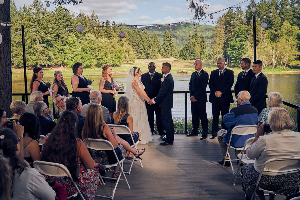 wedding ceremony by lake