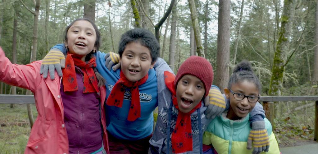 four girls on wildlife field trip