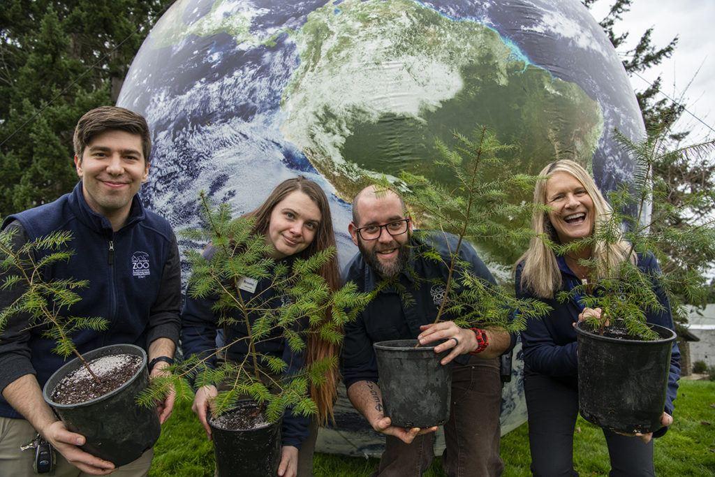 staff holding trees