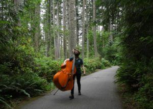 bass player in forest