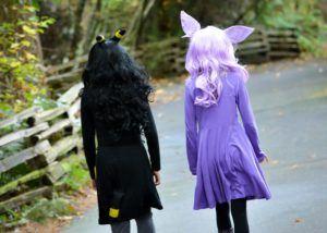 girls walking path