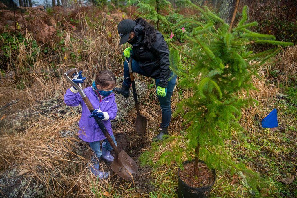 Mom and daughter planting trees together