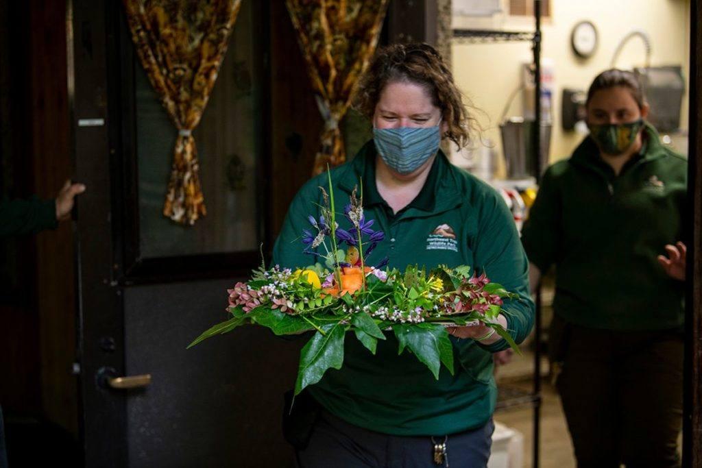 "Keeper Wendi bringing Thistle his ""platter"" of flowers."