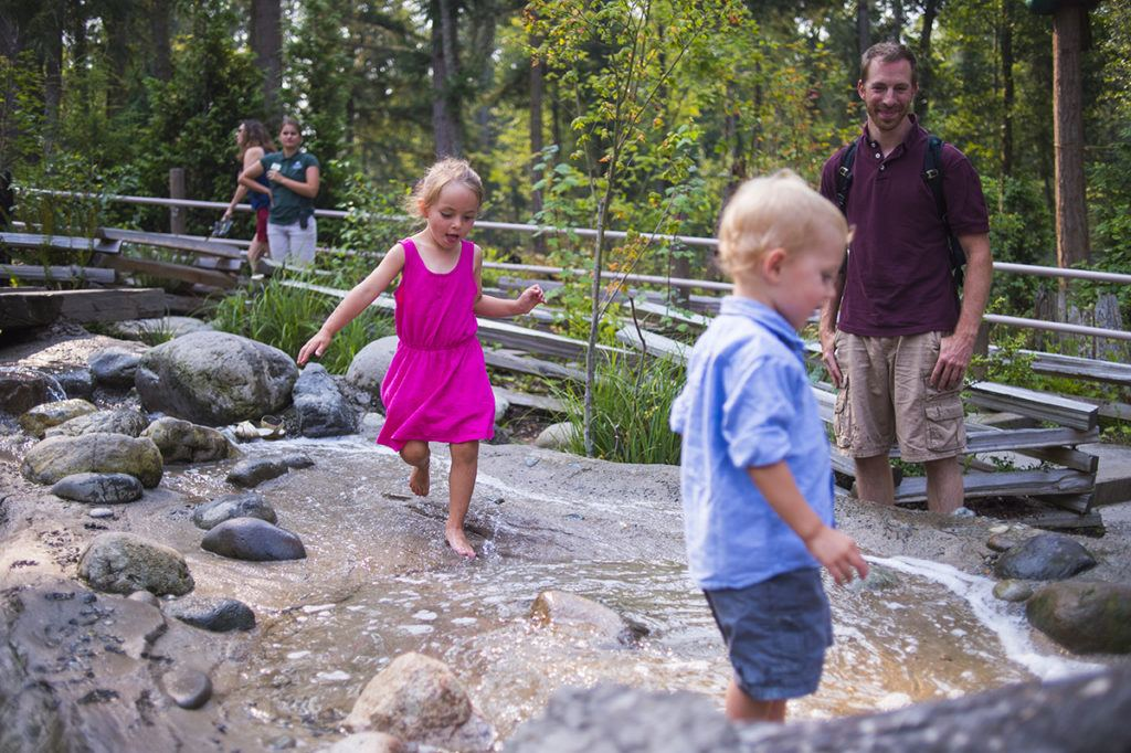 two kids in stream